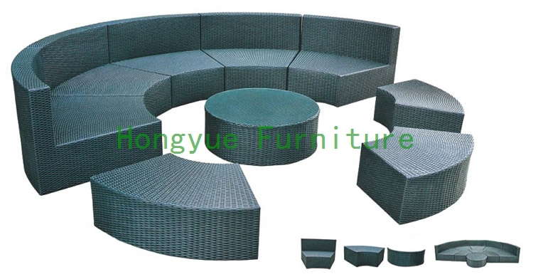 New pe rattan round sectional sofa furniture,outdoor furniture