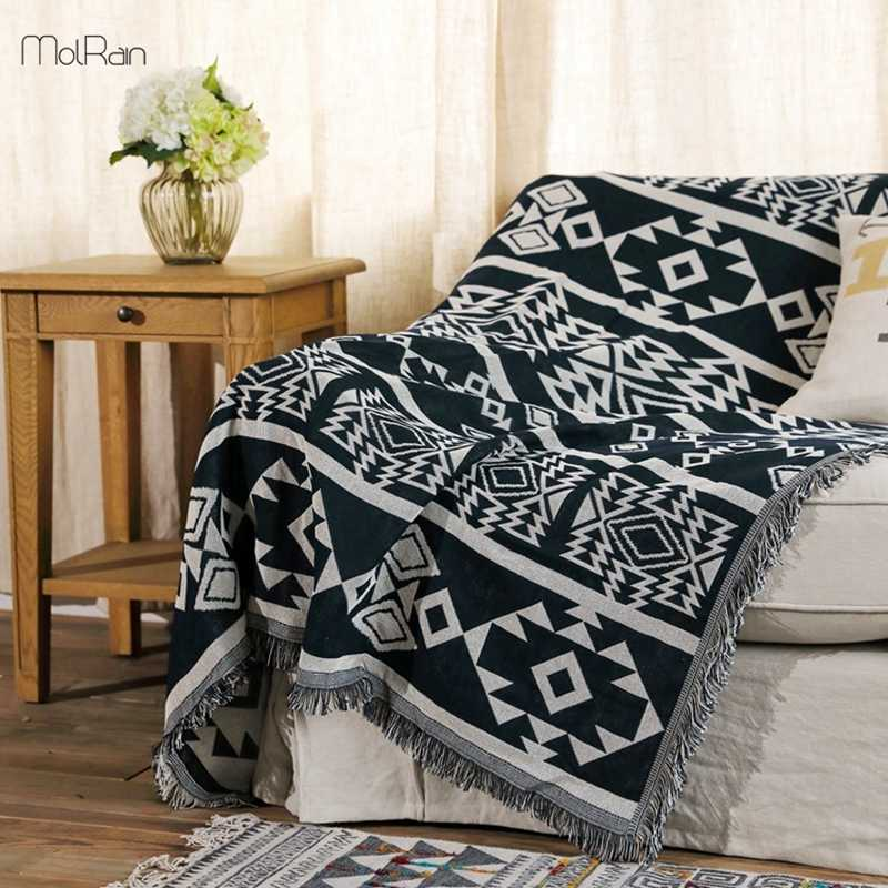 180x340cm Home Use Blanket India Style Geometric Pattern Throw Blankets for Beds Crochet Sleeping Chair Sofa Cover Thick Blanket