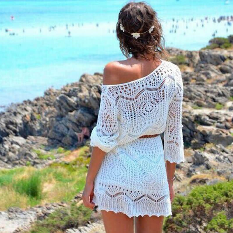 2018 Sexy Beach Cover up Crochet White Lace Swimwear Dress Ladies Bathing Suit Cover ups Beach Tunic Saida de Praia short dress