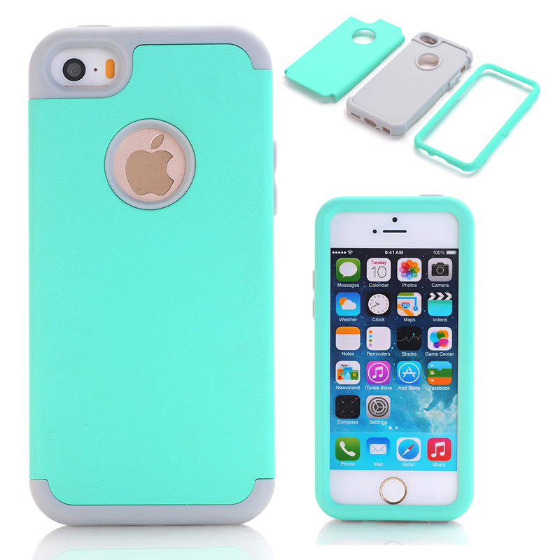3-i-1 Impact Cover Hard & Soft Silicon Hybrid Case Universal för Apple iPhone 5 / 5S / 5C / SE Armor Phone Cases + Screen Protector Film