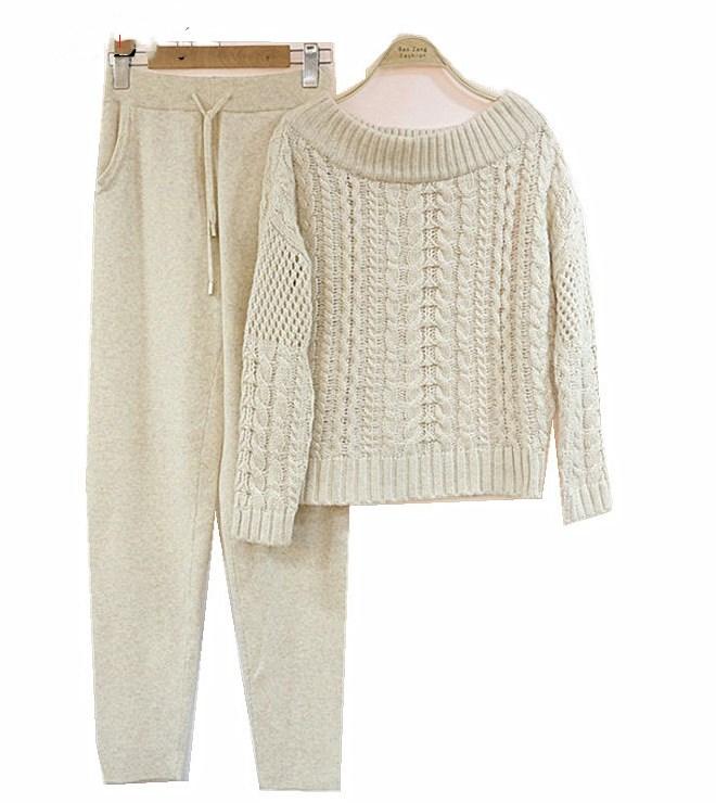 Pantalon Européen gris Costume Vente Vison Chandail Deux Féminin Et Gamme Américain Tricoté De Veste beige Kaki Haut Décontractée 2018hot wqnR5T6w