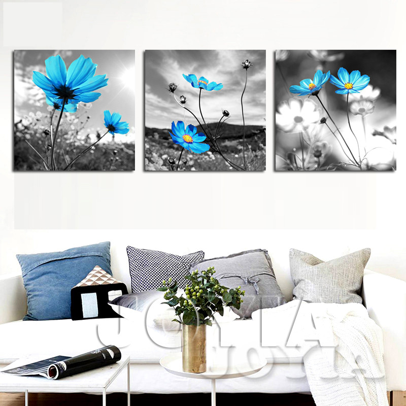 Canvas Wall Art Decoration Wall Pictures Blue Flower Painting Gray Art Printed For Living Room Modern Home Decors No Frame