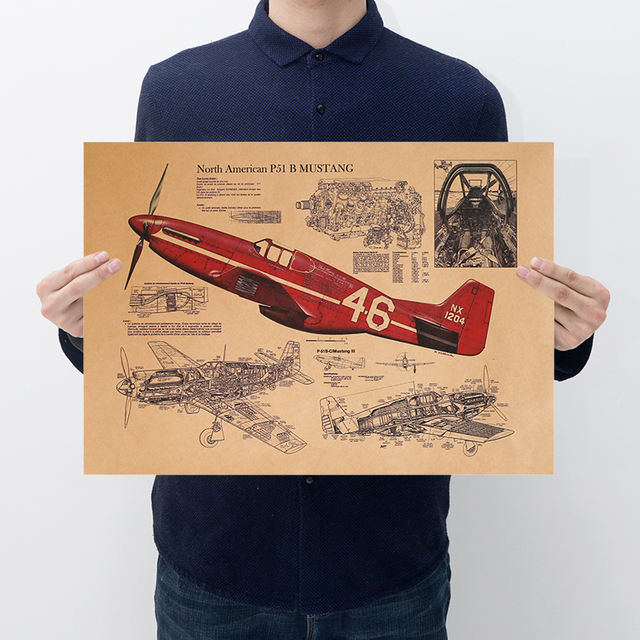 Art Design Vintage Aircraft Poster Printing Retro In Room