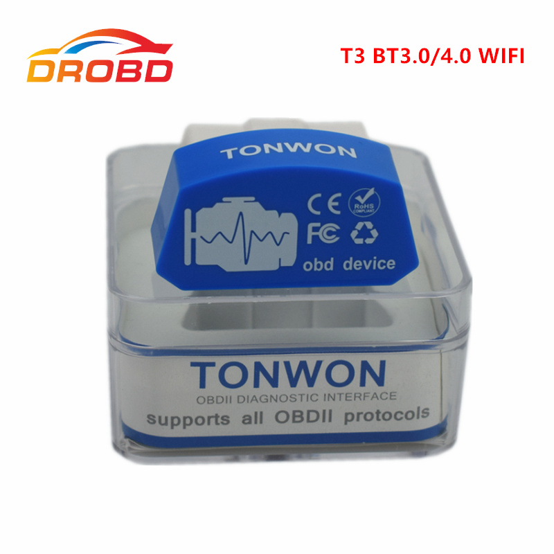 Tonwon 3 OBD2 Code Scanner Bluetooth3.0/4.0 WiFi avaliable obd Car Diagnostics Tool Scanner Check Vehicle Engine Device
