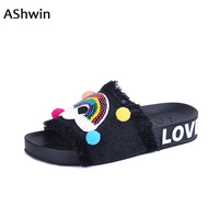 AShwin Eruo Stylish Sandals Women Summer Denim Slippers Casual Sandal Flats Smile Face Rainbow Shiny Glitter