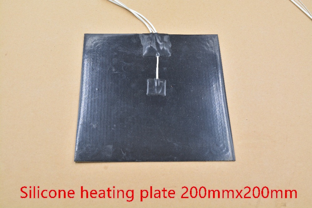 Silicone heating pad heater black silicone plate 200mmx200mm for 3d printer heat bed 1pcs