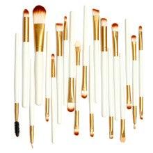 Pro 20Pcs Makeup Brushes White and Golden Colors Set Powder Foundation Eyeshadow Eyeliner Lip Brush Tool with Big Gunny Bag