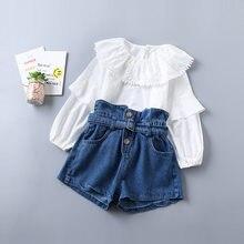 03c481868 2019 bebé chica ropa de primavera niños ropa coreana Casual blusas  pantalones cortos de dos piezas chico trajes para niñas traje.