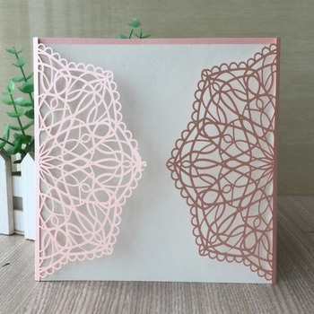 35pcs/lot Royal Pink Chic Lace Wedding Invitation Card For Wedding Engagement Brithday Party Graduation Competition