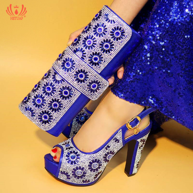 Royal Blue Color Italian African Matching Shoe And Bag Set Fashion Shinning Woman High Heels With Rhinestones For Party Wedding