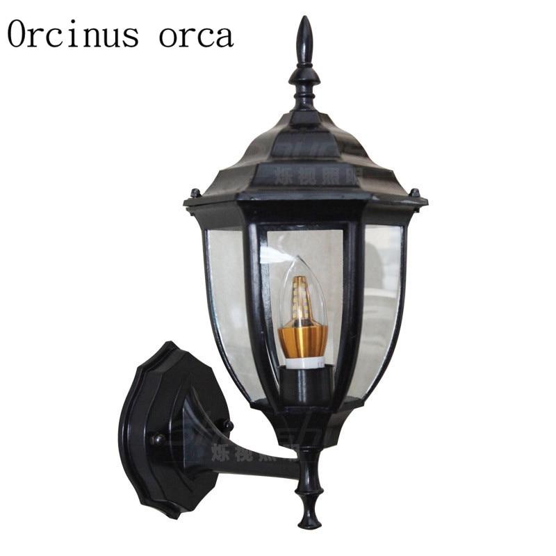 цена на Continental white pastoral outdoor waterproof wall lamp balcony corridor corridor staircase outdoor iron wall lamp
