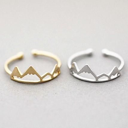 Statement Hiking Adventure Travel Adjustable Snowy Mountain range king Ring accessories Minimalist Jewelry Graduation Gift
