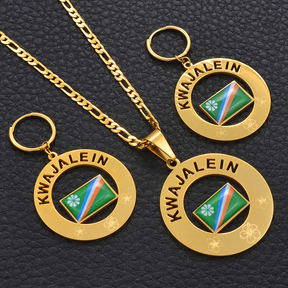 Anniyo KWAJALEIN Flag Pendant Necklaces & Big Spring Ring Earrings set Marshall Islands Jewelry Mom/Wife/Daughter Gifts #097221P