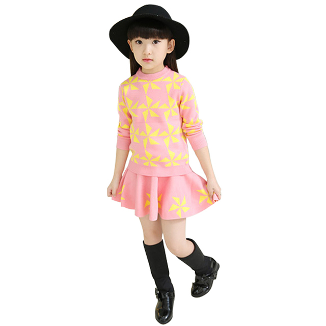 Toddler Girl Clothing Autumn  Winter Costume For Girls Knitted Pullover  Children Sweater Suit  Two-piece New  Arrival