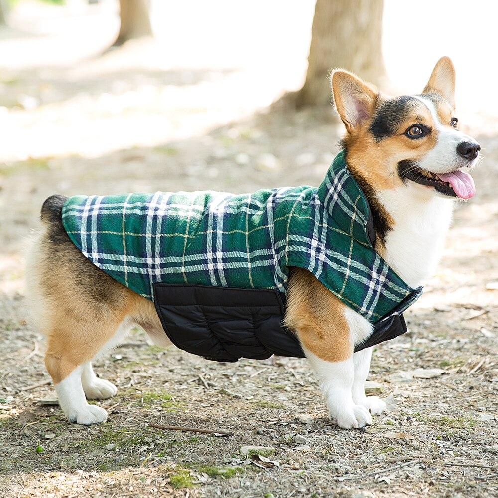 Autumn Winter Golden Retriever Big Dog Clothes Plaid Warm Windproof Coat Jacket Small Medi