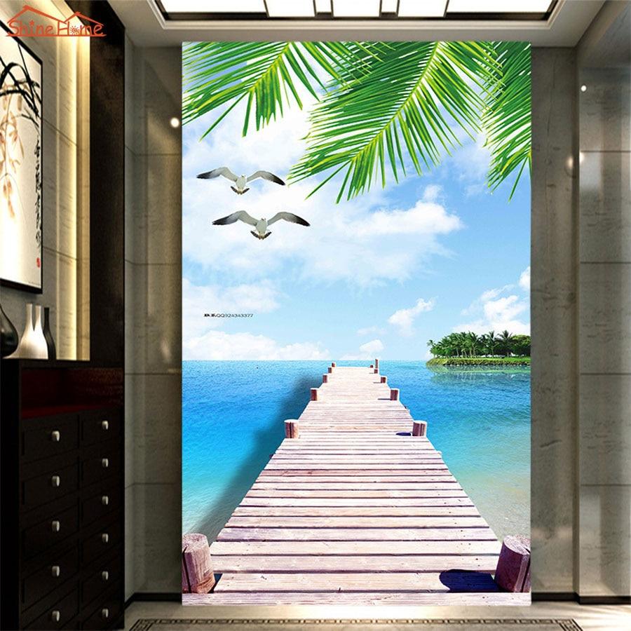 Large Photo Wallpaper Bridge Over Sea Blue Sky 3d Room Modern Wall Paper for Walls 3d Livingroom Mural Rolls Papel De Parede кронштейн для тв wize pro a65 black