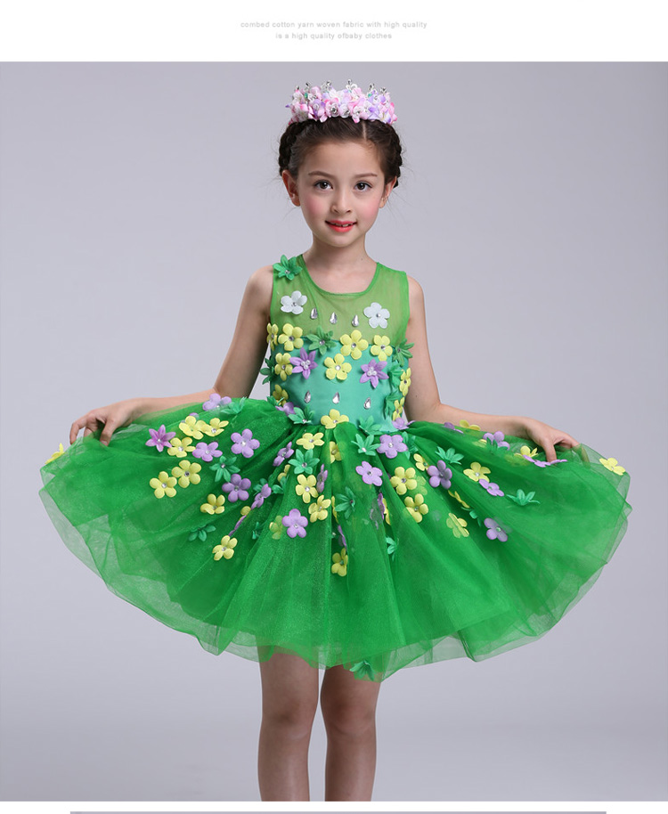 New summer baby girl Clothes print flower girl dress for wedding girls party dress with bow dress 13