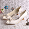 (20 Colors)Wedopus Custom Handmade Large Size Bow Bridal Shoes Ivory Low Heel Peep Toe