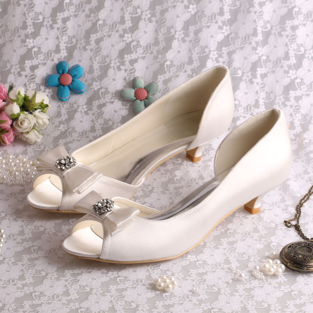 d85a2cf1214 US $45.0  (20 Colors)Wedopus Custom Handmade Large Size Bow Bridal Shoes  Ivory Low Heel Peep Toe-in Women's Pumps from Shoes on Aliexpress.com   ...
