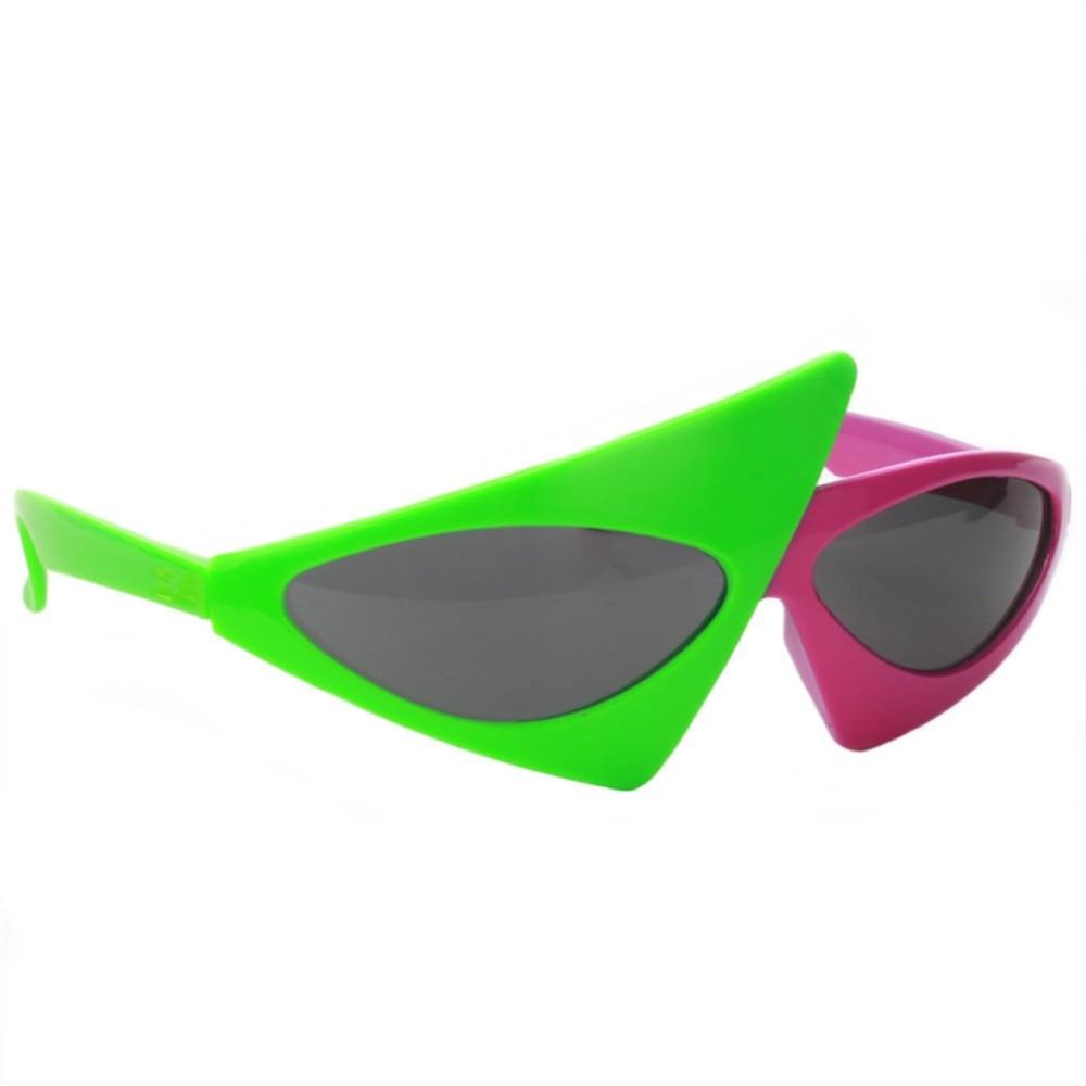 HipHop Green Pink Contrast Roy Purdy Asymmetric Triangular Hip-Pop Sunglasses