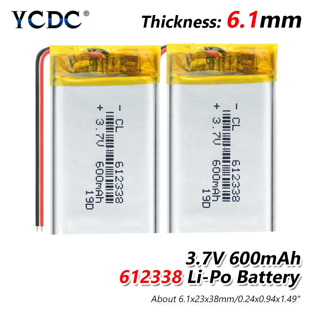1/2/4Pcs Lithium Polymer <font><b>3.7V</b></font> <font><b>600mAh</b></font> 612338 Li-Po Li ion Rechargeable Battery Lipo Cells for DVR GPS MP3 MP4 Cell Phone Speaker image