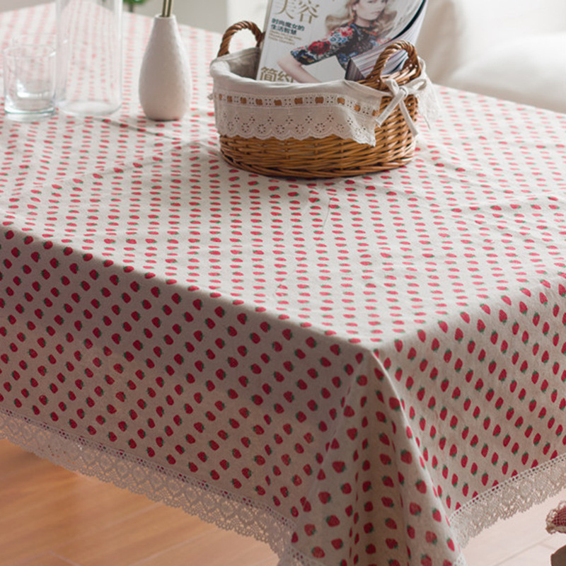 Strawberry Tablecloth Flower Tablecloth Cotton And Linen Dinner Table Cloth Macrame Decoration Lacy Table Cover Elegant Pastoral
