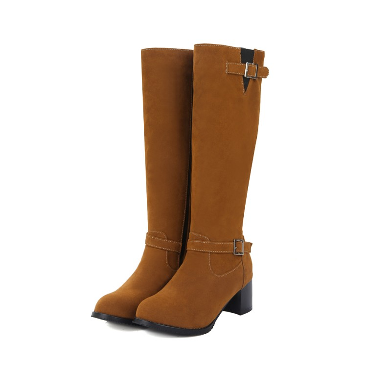ФОТО Winter Boots Real 2017 Big Size 34-43 Women Knee High Boots Sexy Chunky Heels Round Toe Spring Autumn Shoes Less Platform F16