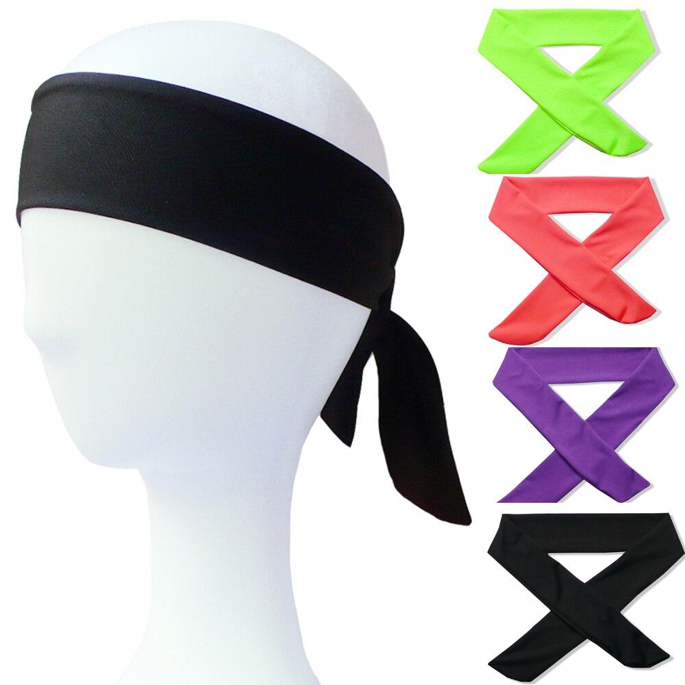 Solid Cotton Tie Back Headbands Stretch Sweatbands Hair Band Moisture Wicking Workout Men Women Bands