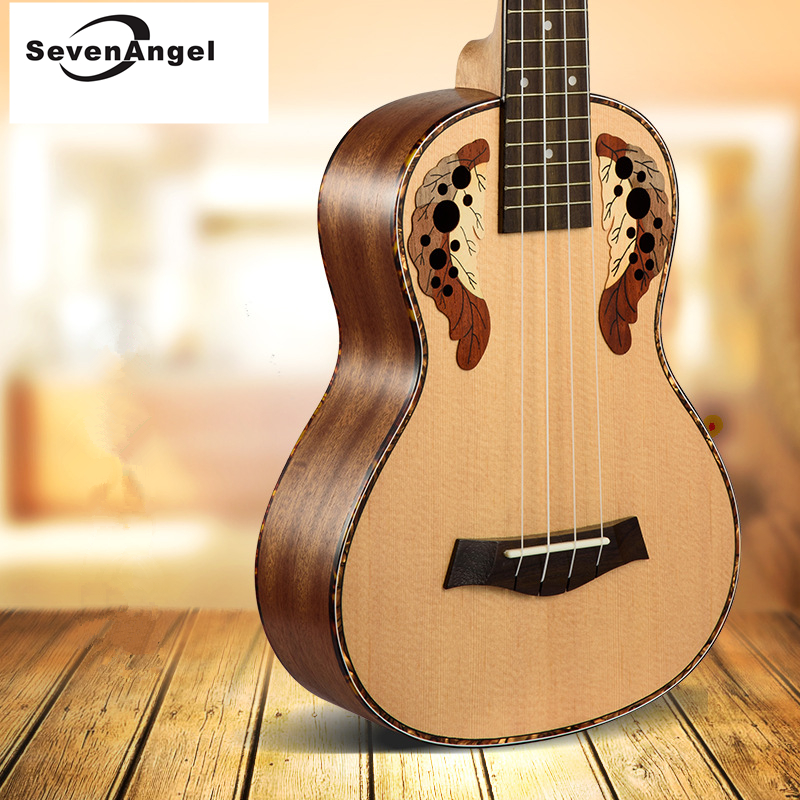 SevenAngel 23 Concert Ukulele Ingrid Spruce Grape Style Sound Hole 4 Stings Mini Guitar Acoustic Electric Ukelele W/ Pickup EQ 23ukulele concert mini hawai guitar mahogany body fishing bone pattern electric ukelele with pickup eq uku gitara