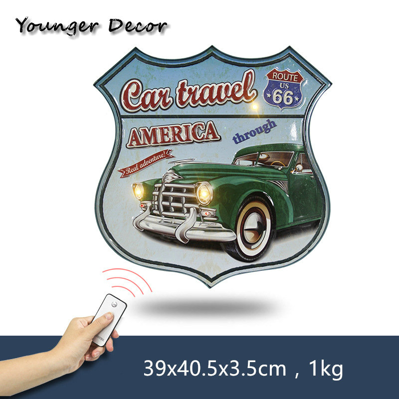America Car Travel Route Us 66 Vintage Metal Poster Wall Deco Plaque