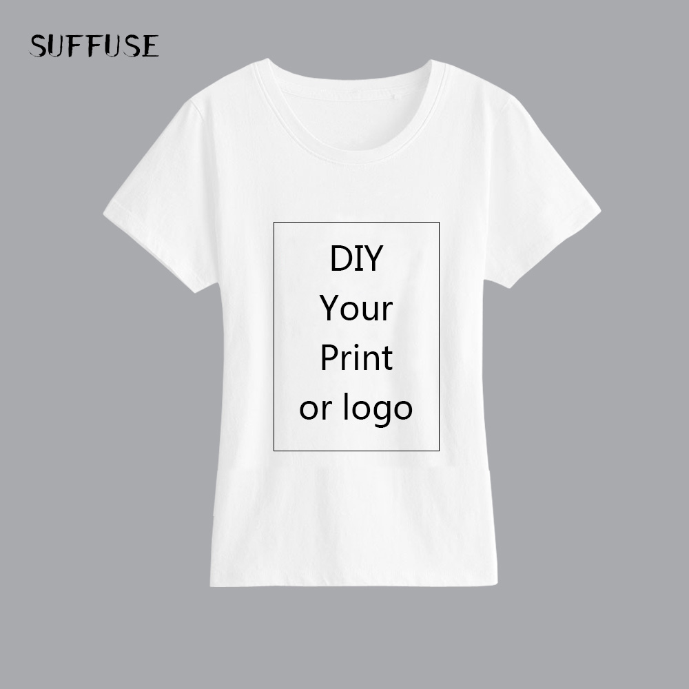 T-Shirt Top-Tees Picture-Logo Text-Print White Women For DIY Lady Slim Heat-Transfer-Process