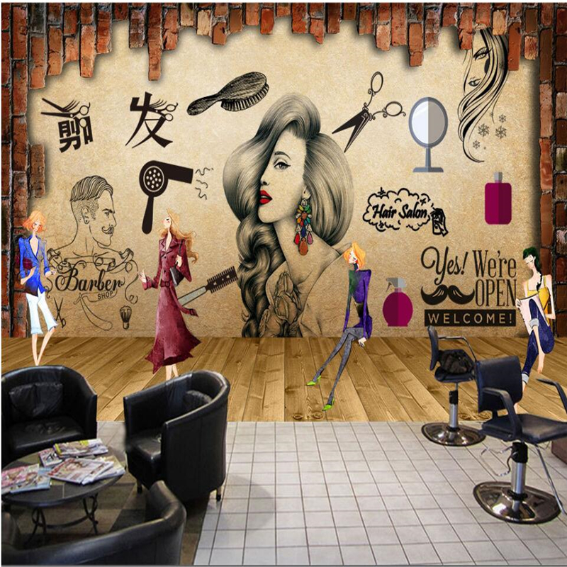 Купить с кэшбэком beibehang Salon hair salon beauty salon hairdressing shop nostalgic retro makeup background wall custom large fresco wallpaper