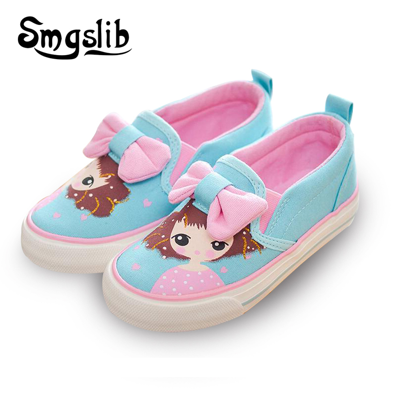 Kids canvas shoes cartoon cute Children Sneakers Bowknot Baby Girls Princess Shoes Denim Polka Dot Flat shoes for Girls