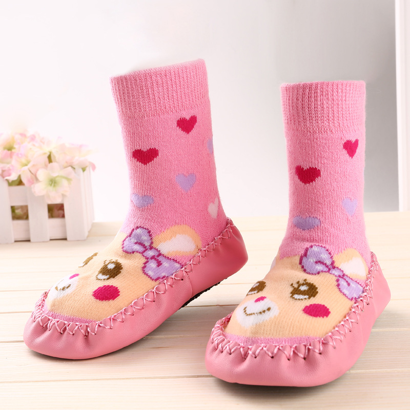 Cute Winter Baby Boy Girl Children Socks Anti Slip Newborn Animal Cartoon Shoes Slippers Boots Soft Leather Soled Indoor Socks baby girl boy bling first walkers toddler soft sole sports shoes breathable children s anti slip shoe light cool summer new in