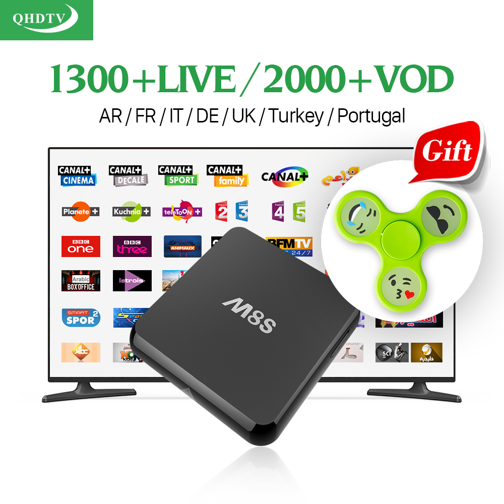 M8S Android Smart TV Set Top Box 2g ram with HD QHDTV Code Arabic IPTV Subscription 1 year IPTV Europe French Italia UK iptv Box