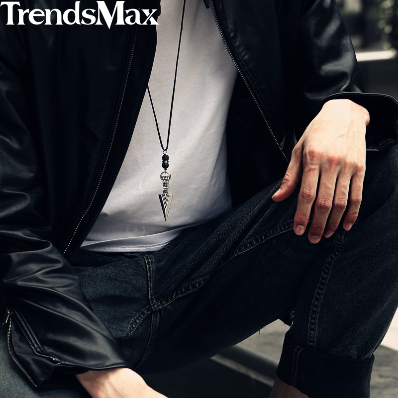 Men's Necklace Stainless Steel Arrow Pendant Lava Bead 2018 Long Leather Necklace For Men 32inch Punk Jewelry Dropshipping KDN11