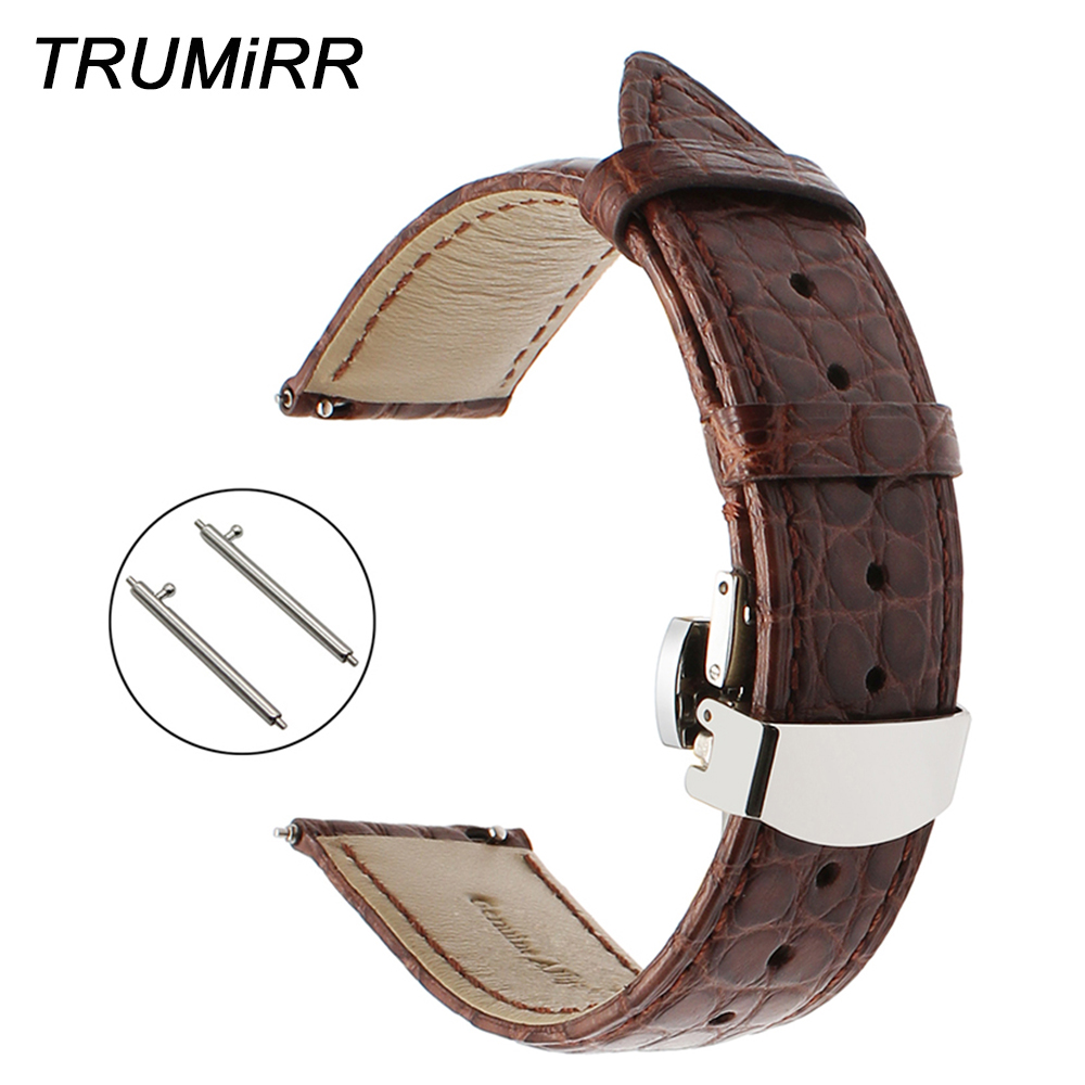 18mm 20mm 22mm Real Alligator Watchband Quick Release Genuine Leather Watch Band Steel Butterfly Clasp Strap Wrist Belt Bracelet