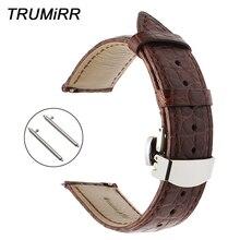 Correa de reloj de piel auténtica de cocodrilo de 18mm, 20mm y 22mm, correa de reloj de cuero genuino de liberación rápida con cierre de mariposa de acero, pulsera de cinturón de muñeca