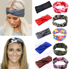 Beauty Women Turban Knot Knotted Camouflage Hair Band Sport Headband Multicolor