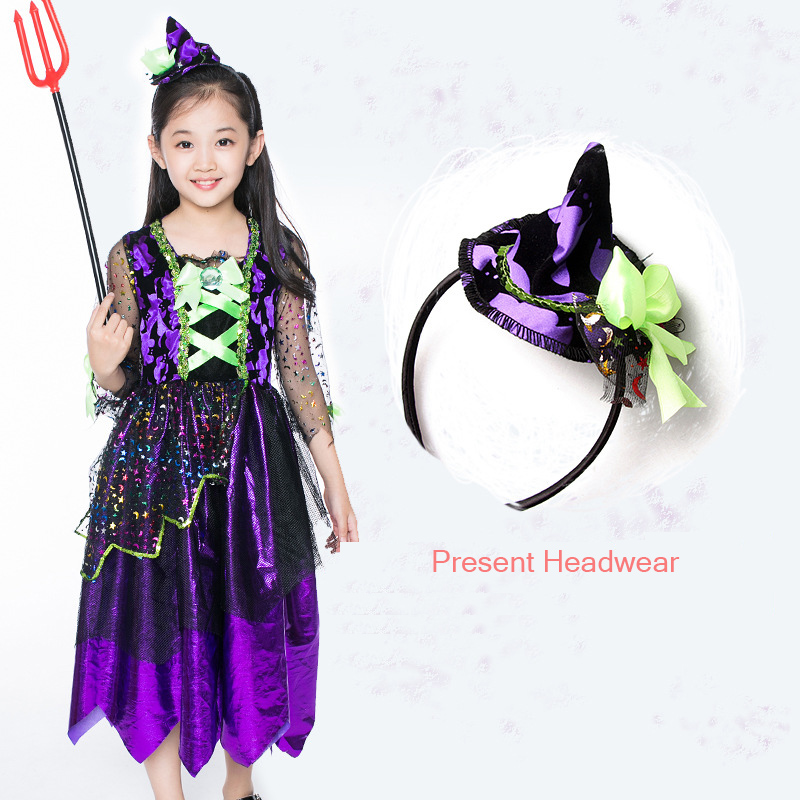 Halloween/Christmas Sequins Star & Moon Yarn Belt Fairy Dresses Kids Witch Cosplay Costumes Child Fanny Dress Girl Stage Clothes