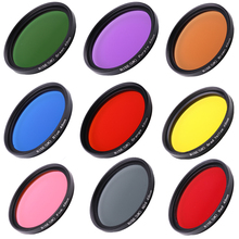 Camera Filters Full 49 mm Color Filters for brown Orange Pink Red Yellow Grey Blue Green Purple For DSLR Camera