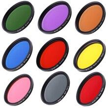 Kamera Filtreleri Tam 49mm Renk Filtreleri kahverengi Turuncu Pembe Kırmızı Sarı Gri Mavi Yeşil Mor DSLR Kamera Için