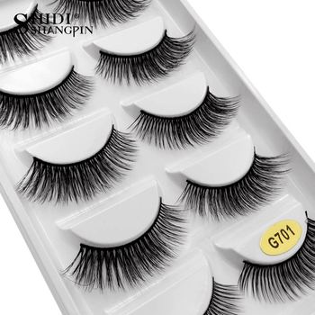 fa78fa84e25 SHIDISHANGPIN 5 pairs mink eyelashes 1 box 3d mink lashes natural long  false eyelashes 1cm 1.5