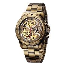 SHENHUA Mens שעונים בציר שעון ברונזה שלד אוטומטי שעוני יד מכאני עצמי מתפתל פלדה רצועת Relogio Masculino