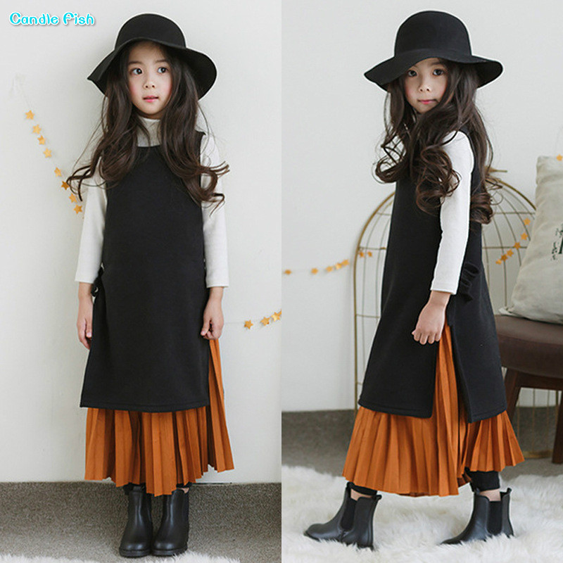Girls dresses 2017 winter new girls thickened plus velvet side-split lace dress vest black dress
