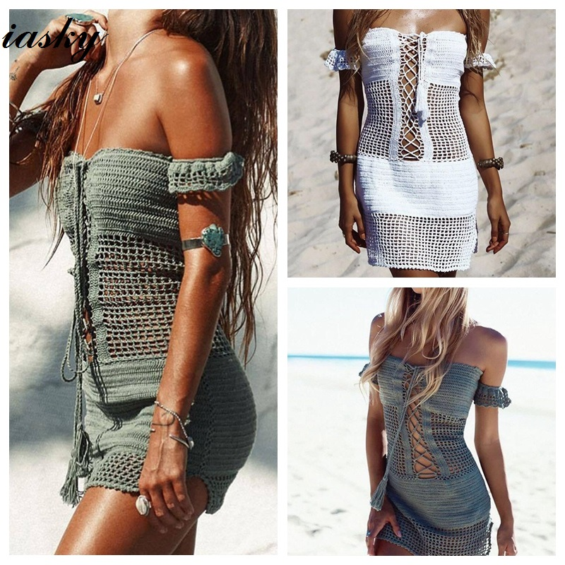 IASKY 2018 New Off Shoulder Beach Cover Ups sexy women knitting Bikini swimsuit Cover up Pareo Sexy Beach Dress zaful 2018 new women cover ups striped ruffled backless halter dress high waist beach sexy ankle length green stripped cover up
