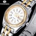 FORSINING мужская мода кварцевые часы из нержавеющей стали группа роскошный горный хрусталь повседневная мужская авто дата золотые часы relógio masculino