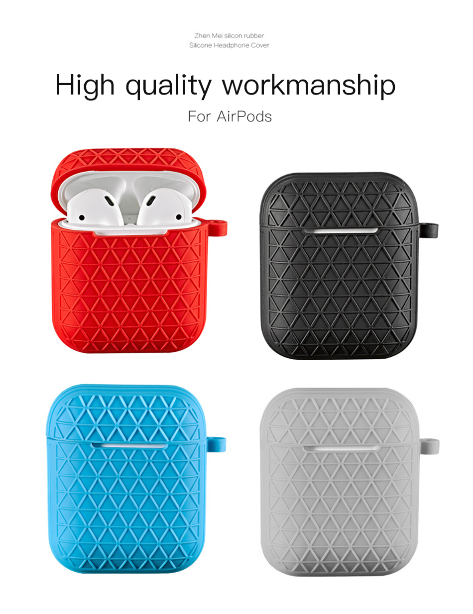 !ACCEZZ Grid Silicone Earphone Case For AirPod Headset Protective Fundas Cover Accessories For Apple AirPods With Key Chain Box (2)