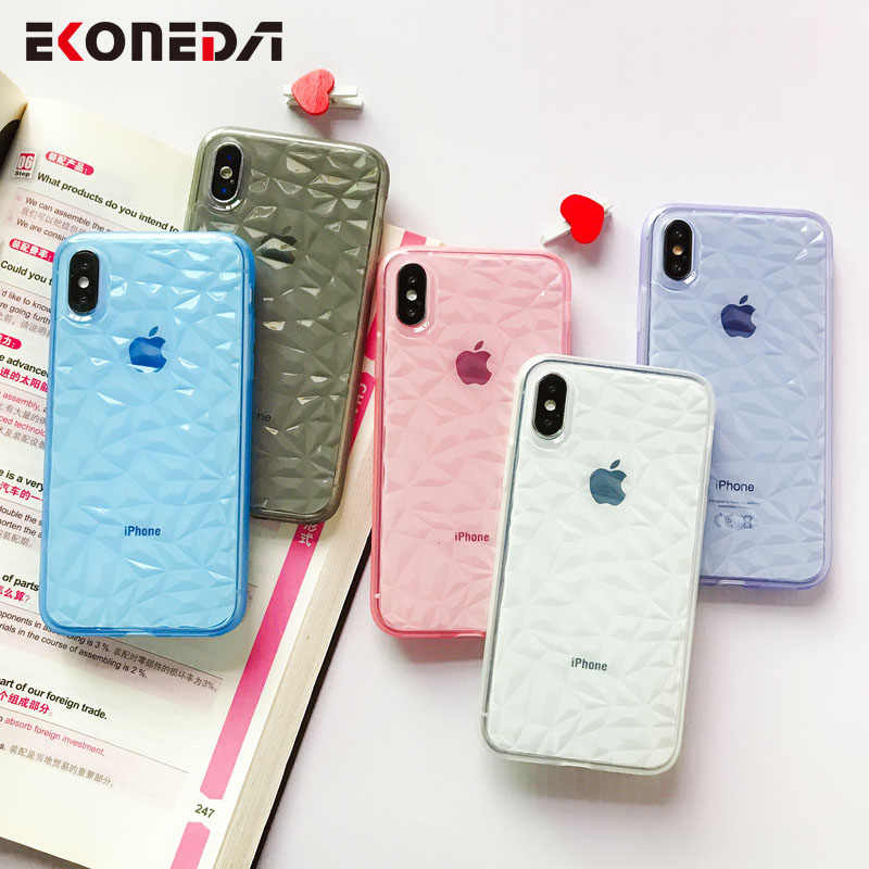 EKONEDA Diamante Transparente Soft Case Para o iphone Caso de 7 Silicone Tampa Lisa Para iPhone Caso X Para o iphone XR XS max 6S 7 8 Plus