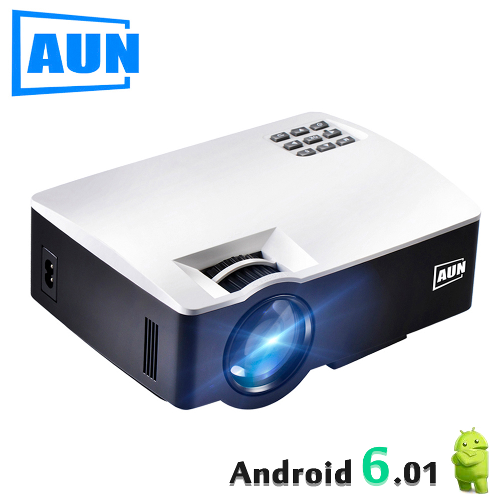 AUN LED Projector AKEY1 Plus, Built-in Android 6.0, WIFI, Bluetooth. 1800 Lumens Beamer Support 4K Vdeo 1080P for Home Theater aun new hd projector support wifi bluetooth built in android os 4 2 system 3d projector for home cinema led projector v5g5